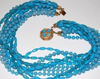 SALE- Vintage Blue Multi Strand Necklace, Blue Beaded Costume Jewelry, 1960's