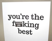 """Funny Card, Thank You Card- """"You're The Best"""""""