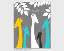 Giraffe Nursery Art Print, Nursery Wall Art Poster, Choose Your Colors, Modern African Safari Print Childrens Decor
