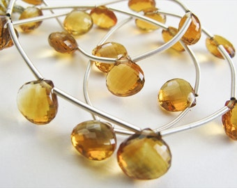 Citrine, Heart Briolettes, AAA, Micro Faceted, 8-9mm, 10 Hearts