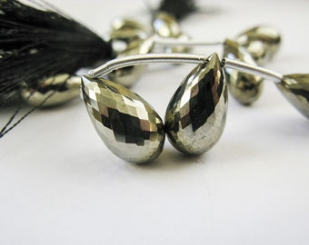 Pyrite Tear Drop Briolettes, Micro Faceted, AAA, 12mm-15mm, Full Strand, 11 Briolettes