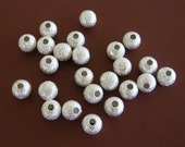Silver Stardust Beads 6mm (24) Silver Plated Glittery Bling Round Wholesale Beads Jewelry Supply CrazyCoolStuff