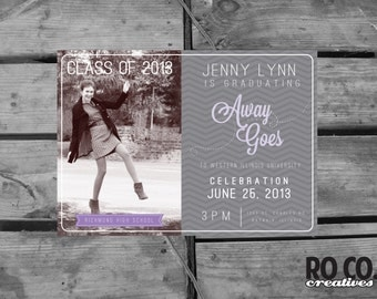 Printable DIY Photo Chevron Graduation Party Invitation
