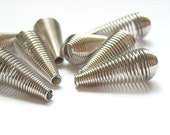 10 Rhodium Plated Spring Spacer Teardrop Beads