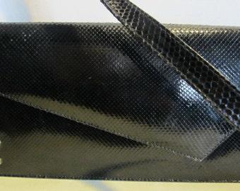 vintage Pierre CARDIN snake skin leather clutch , evening bag, France