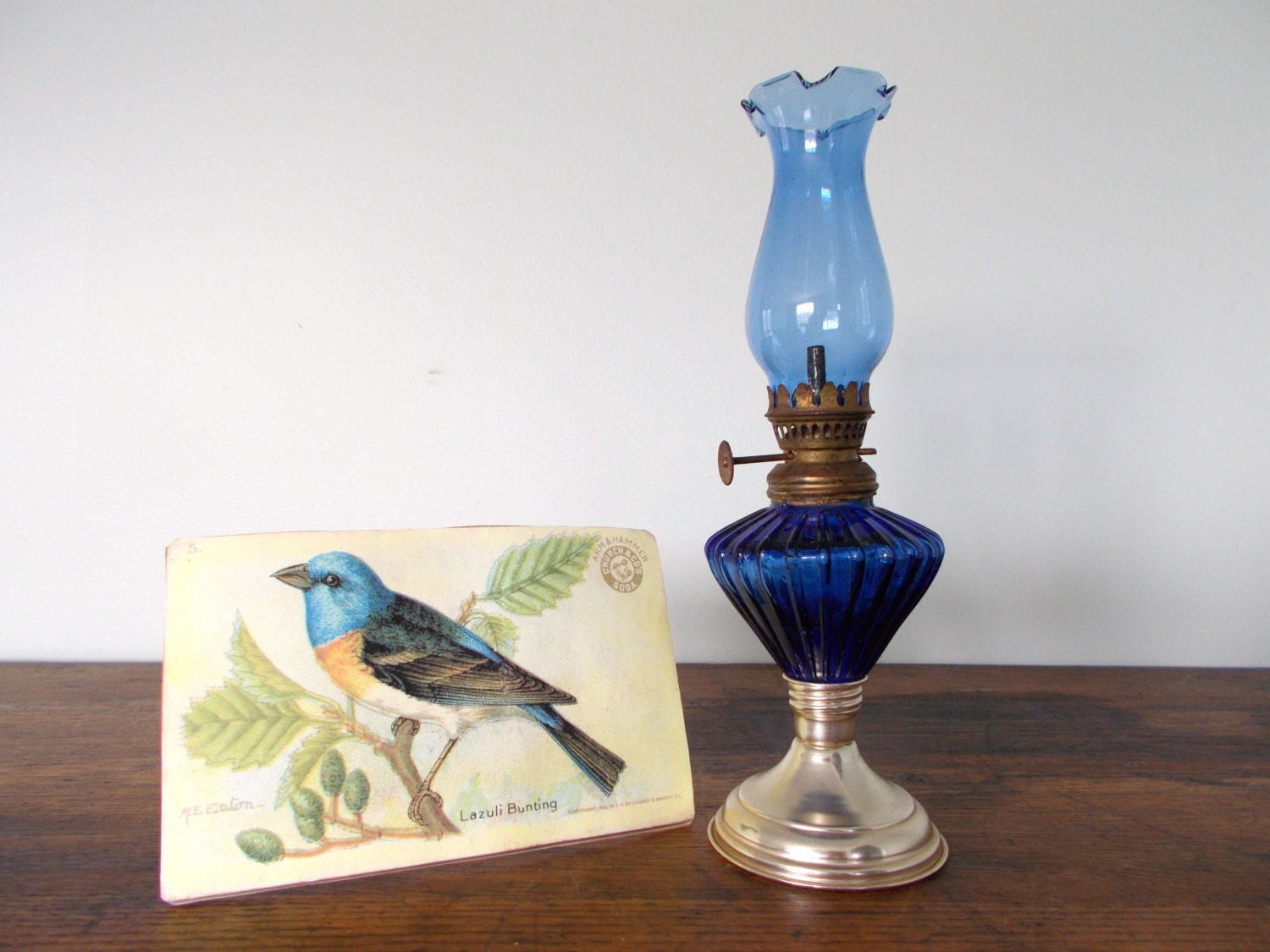 Small Vintage Cobalt Blue Glass Chimney Oil Lamp