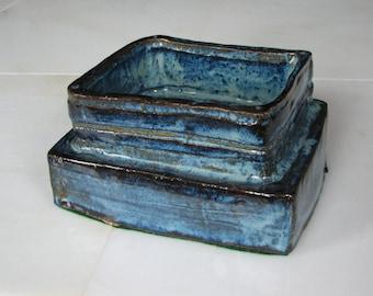 Free form Studio Pottery Bowl Blue glaze abstract decor