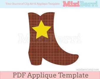 Cowboy Boot Applique Template PDF Instant Download
