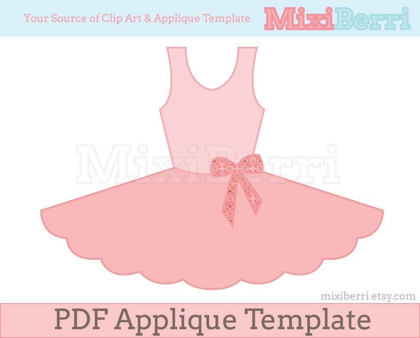 Ballet Tutu Dress Applique Pattern Pdf Applique Template