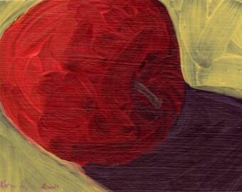 Red Apple II, original acrylic still life painting