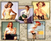 Vintage Pinup Girls - Digital Collage Sheet - 1 inch Squares - Instant Download - Best for jewelry pendants - PINUP NR1