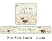 Etsy shop banner and avatar Personalized Etsy banner Etsy shop set Digital Download - DRAGONFLIES