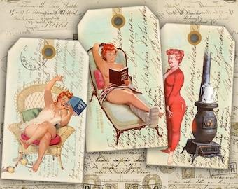 Digital Collage Sheet - Printable Gift Tags - Printable Download - Digital Labels - Pinup Girls - Vintage Pinup - WONDERFUL LADIES TAGS