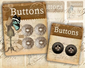 Printable vintage button cards Digital collage sheet Paper craft Paper goods Instant download - BUTTON CARDS