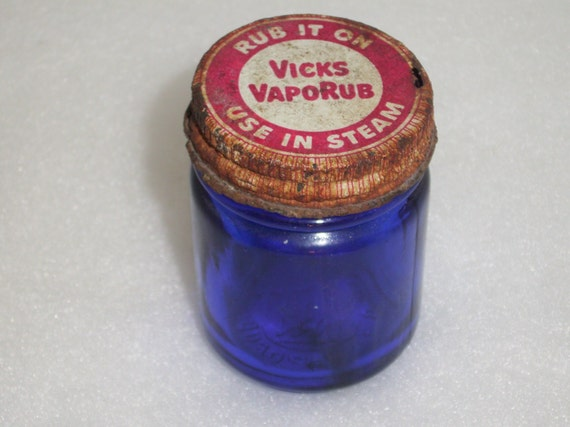 Antique Old Blue Vicks Bottle