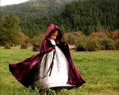 Girls Velvet Riding-Hood cape -- child's cape. princess cape. girls full length cape. renaissance  fantasy fairytale Frozen Anna Elsa