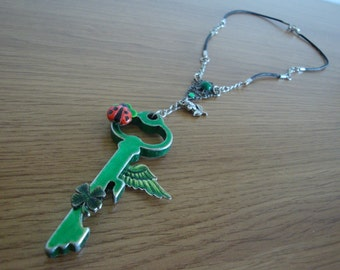 Skeleton Key Pendant Green with Ladybug, Clover and Wing OOAK