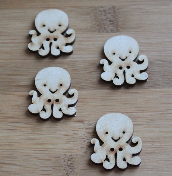 4 Craft Wood Octopus Buttons, 3 cm Wide, Laser Cut Wood