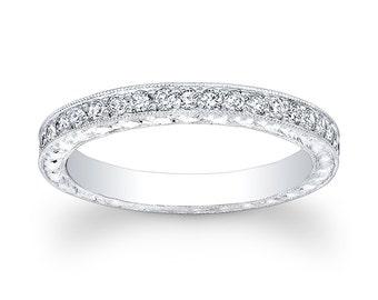 Ladies Platinum antique diamond wedding band 0.33 ctw G-VS2 diamonds