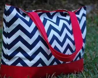 Navy Chevron Tote Bag, Navy Zig Zag with Red Tote Bag