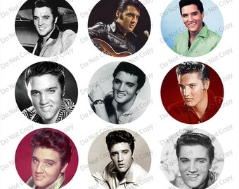 INSTANT digital Download  Elvis 1-inch Round Bottle Cap Images 4 x 6 in Digital Sheet, 1 inch circles, rounds, 1 inch digital images