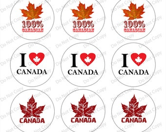 INSTANT digital Download Canada 1-inch Round Bottle Cap Images 4 x 6 in Digital Sheet, 1 inch circles, rounds, 1 inch digital images