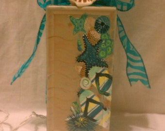 Hand Painted Glass Block, Flip Flops and Shells and Sand with Teal Lights