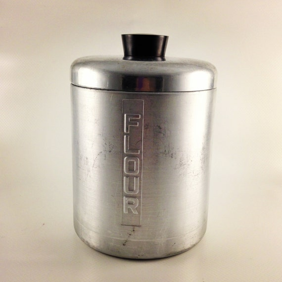 1950s vintage aluminum flour canister by kitchenreruns on etsy