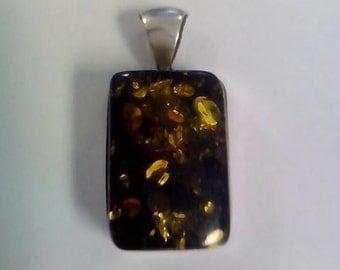 Vintage Dark Fossil Amber Pendant 925 Hallmarked Silver - Signed WK