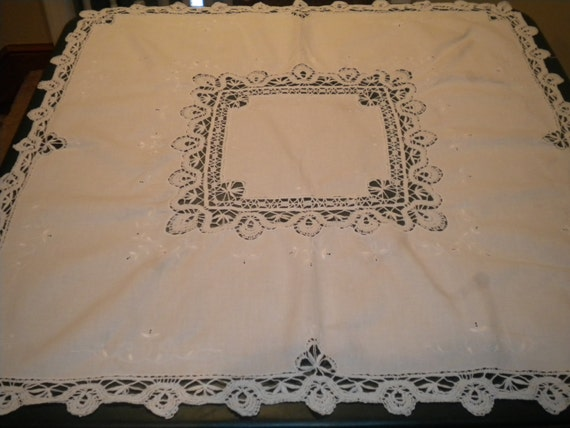 Linen Table Square with Cutouts and crocheted trim
