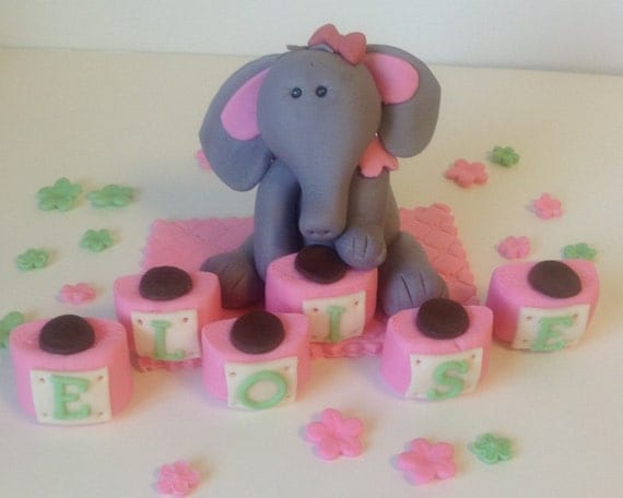 Edible Elephant Cake Decorations : Items similar to ELEPHANT SAFARI Edible CAKE Topper Baby ...