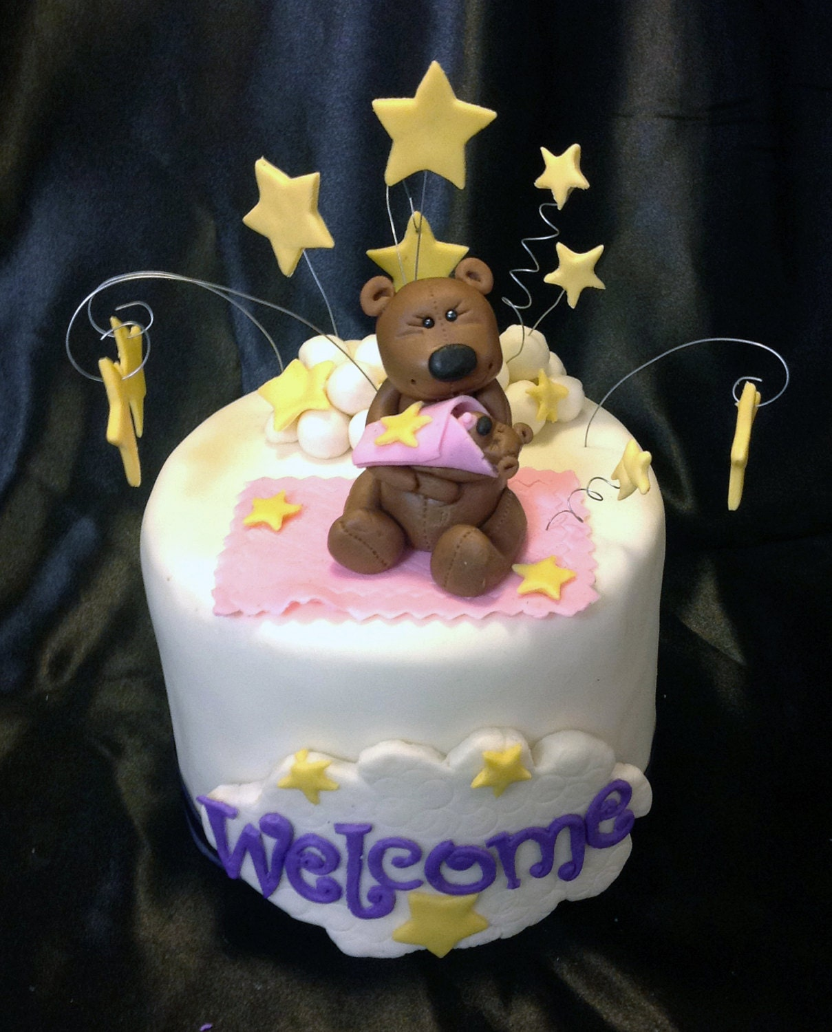 Fondant Baby Shower Cake Topper Teddy Bear Goodnight Moon And