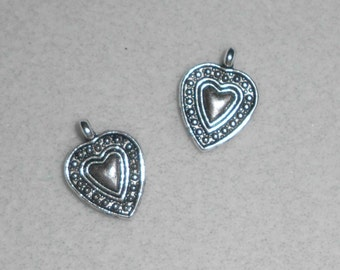 Silver  Hearts in a Heart Charms