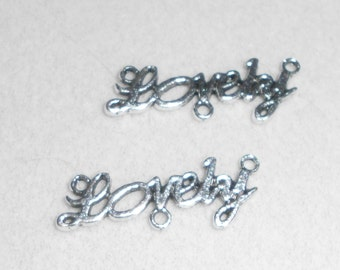 """Silver """"Lovely"""" saying Charms"""