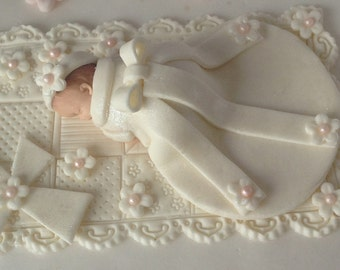 CHRISTENING CAKE TOPPER Baptism gown dress hair accessories Christening Baby Girl Baby Shower First Birthday Decorations