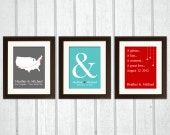Personalized Wedding Decoration - Sign - Trio of Map, Timeline and Ampersand Prints as Wedding Decor - For a husband and wife