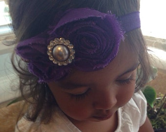Purple Color Shabby Chiffon Flower Hair Bow Headband, Girl Headband, Baby Girl Headband, Infant Girl Headband, Newborn Headband