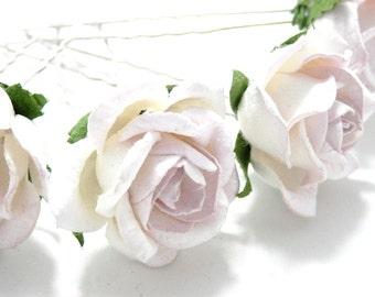 White/ Pale Lilac Rose Floral Hair Pin Set/ Bridal/ Wedding Hair Accessories/ Bridesmaid Hair Pin/ Wedding Flower Pins
