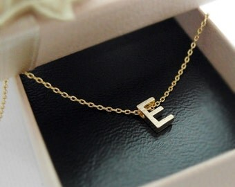 Tiny initial E necklace, personalized necklace, Satin brushed finish