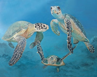 Sea Turtles Giclee Art Print