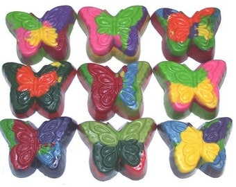 Rainbow Butterfly  Crayons - Set of 9 Non-Toxic Crayons - Eco Friendly - Party Favors - Assorted Crayons