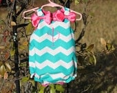 Teal Chevron Bubble with FREE pink monogram and pink bows.