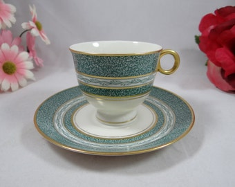 Vintage Theodore Haviland New York Green Mosaic Cappuccino Demitasse Cup and Saucer - 4 available Tea Cup