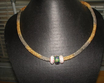18 Inch Silver Tone and Gold Tone Viking Knit Necklace