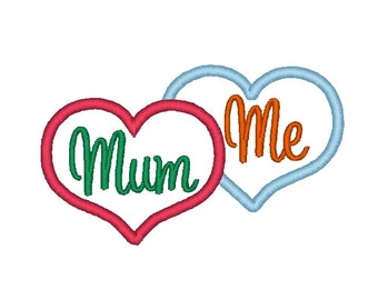 MUM and ME overlapping Heart Applique. Machine Embroidery Design Digitized File 4x4 5x7 6x10