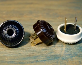 Vintage Style Electrical Plug Ribbed Design - Bakelite Replica - Top Quality Supplies For Your Handmade Lighting, Lamps, Pendants etc