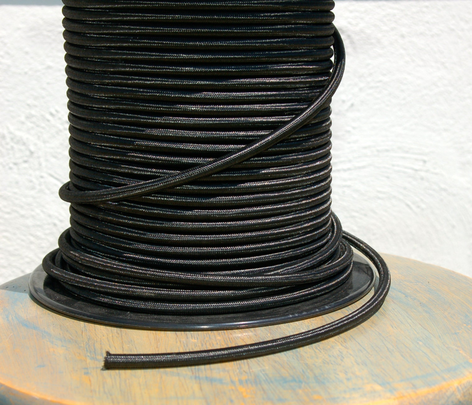 6 Feet Black Rayon Cloth Covered 3 Wire Round Cord