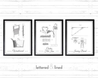 SET Vintage Laundry Illustrations - 3 prints - Antique, Rustic, Original, Historic, Decor, Illustration, Laundry, Room