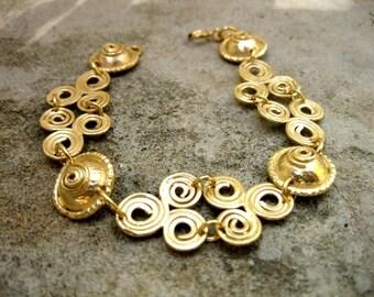 Spiral Gold bracelet , israeli jewelry , 18k gold platting on silver , veremil