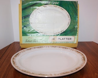 "QUEEN ANNE SIGNATURE Collection 14"" Serving Platter (Boxed) Vintage"